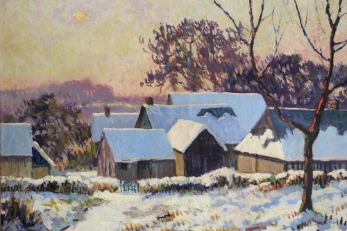 Albert Malet (1912-1986)  - Norman countryside under the snow -
