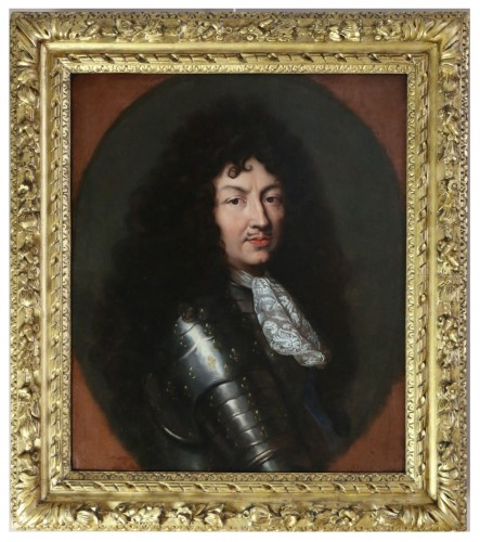 Portrait of Louis XIV in armor around 1670, attributed to Claude lefebvre
