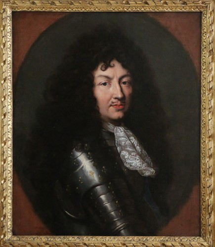 Portrait of Louis XIV in armor around 1670, attributed to Claude lefebvre  - Paintings & Drawings Style Louis XIV