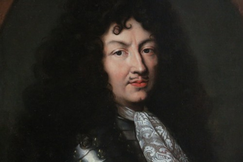 Paintings & Drawings  -  Portrait of Louis XIV in armor around 1670, attributed to Claude lefebvre