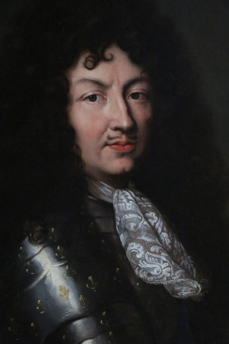 Portrait of Louis XIV in armor around 1670, attributed to Claude lefebvre  -