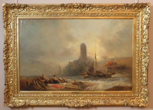 Eugene Isabey (1804-1886)- Marine and animated maritime landscape.