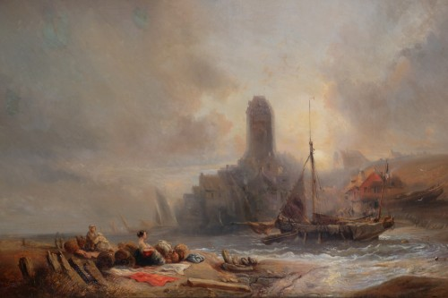 Eugene Isabey (1804-1886)- Marine and animated maritime landscape. - Paintings & Drawings Style Napoléon III