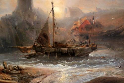 Eugene Isabey (1804-1886)- Marine and animated maritime landscape. -