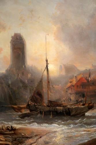 19th century - Eugene Isabey (1804-1886)- Marine and animated maritime landscape.