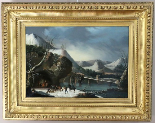 Animated winter landscape - French school circa 1800 attributed to César Van Loo (1743-1821)