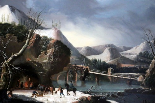 Animated winter landscape - French school circa 1800 attributed to César Van Loo (1743-1821)  - Paintings & Drawings Style Directoire