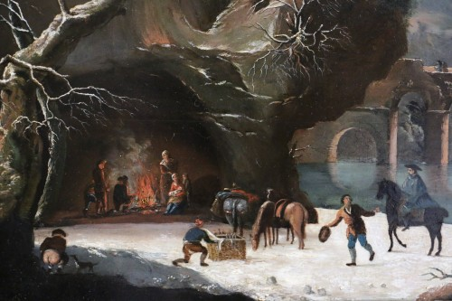 Antiquités - Animated winter landscape - French school circa 1800 attributed to César Van Loo (1743-1821)