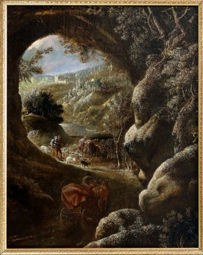 David Téniers the Younger (1610-1690) -attributed-Animated Landscape circa  - Paintings & Drawings Style Louis XIII