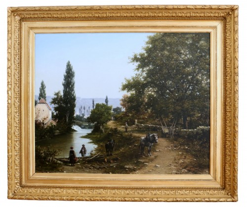 Léon Legat (born in 1829-Paris - Lively path along a river