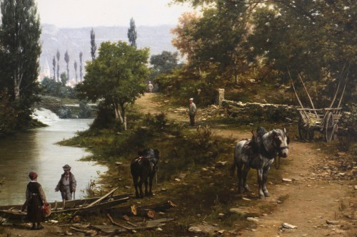 Paintings & Drawings  -  Léon Legat (born in 1829-Paris - Lively path along a river