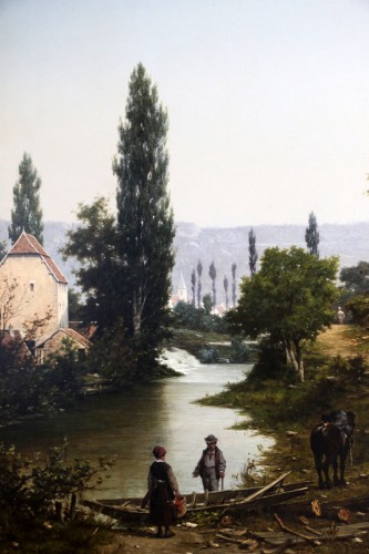Léon Legat (born in 1829-Paris - Lively path along a river -