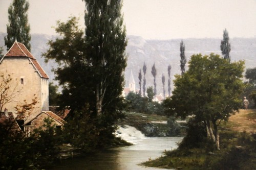 19th century -  Léon Legat (born in 1829-Paris - Lively path along a river
