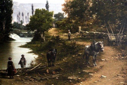 Léon Legat (born in 1829-Paris - Lively path along a river - Napoléon III