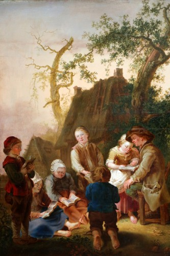 The lesson - 18th century German school - Paintings & Drawings Style Louis XV