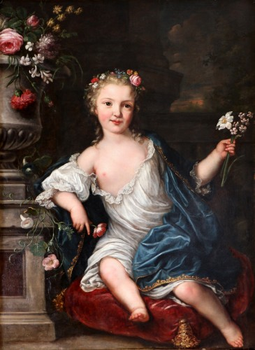 David Luders (1710-1759)-- Portrait of a young princess. - Paintings & Drawings Style Louis XV
