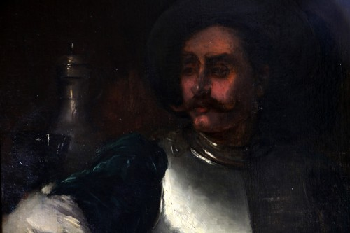 Antoine Vollon (Lyon, 1833-Paris, 1900) - Portrait of a man in armor - Paintings & Drawings Style Napoléon III