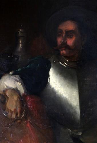 Paintings & Drawings  -  Antoine Vollon (Lyon, 1833-Paris, 1900) - Portrait of a man in armor