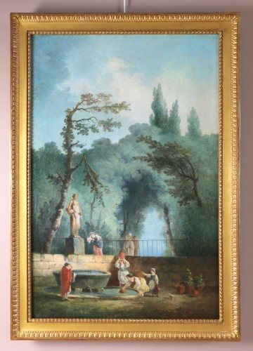 Bucolic scene in a park. - attributed to Hubert Robert and his workshop