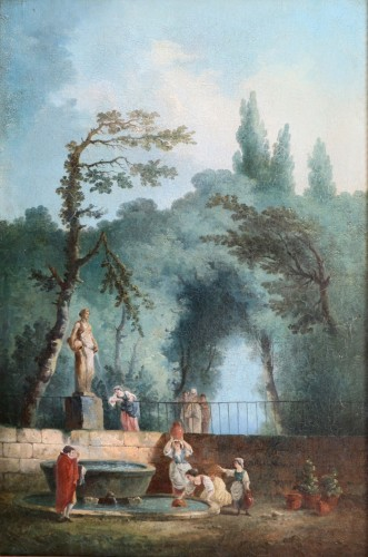 Antiquités - Bucolic scene in a park. - attributed to Hubert Robert and his workshop