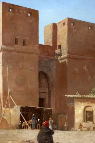 Paintings & Drawings  -  Henri Regnault (1843-1871) -Orientalist school-animated scene in front of