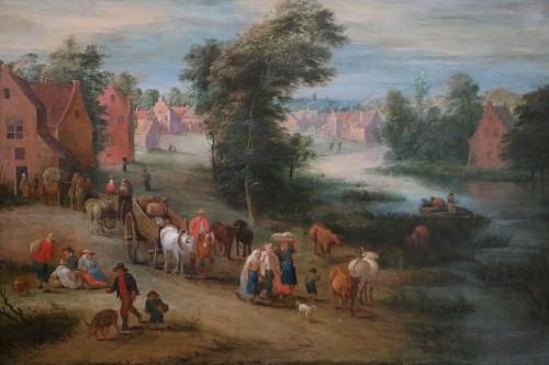 Théobald Michau (1676 Tournai, 1765 Antwerp) village scene  - Paintings & Drawings Style Louis XIV