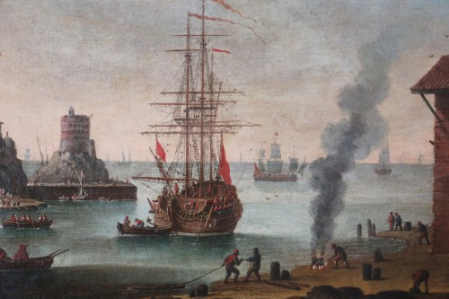 Marine - Atributed  to Alessandro Grevenbroeck (born in the 17th century in Padua) - Paintings & Drawings Style Louis XIV
