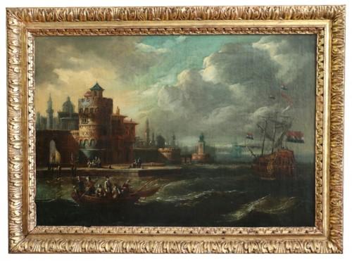 Marine at the gates of a Byzantine city - 17th century Dutch school attributed to Cornelis de Wael (1592, 1667) and workshop