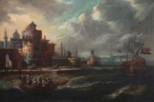 Marine at the gates of a Byzantine city - 17th century Dutch school attributed to Cornelis de Wael (1592, 1667) and workshop - Paintings & Drawings Style Louis XIII
