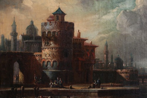 Paintings & Drawings  - Marine at the gates of a Byzantine city - 17th century Dutch school attributed to Cornelis de Wael (1592, 1667) and workshop