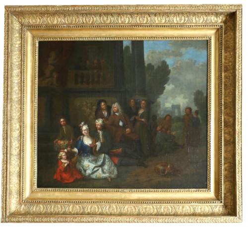 Jan Josef Horemans the Elder (1682,1759) - Family scene and his suit