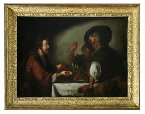 17th century Caravaggio School: Jesus shares bread with the Pilgrims of Em