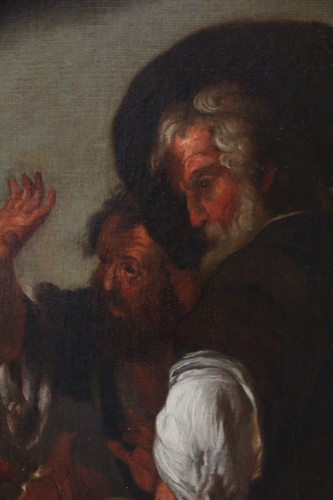 Paintings & Drawings  -  17th century Caravaggio School: Jesus shares bread with the Pilgrims of Em