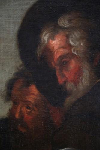 17th century Caravaggio School: Jesus shares bread with the Pilgrims of Em - Louis XIV