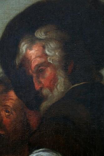 Louis XIV -  17th century Caravaggio School: Jesus shares bread with the Pilgrims of Em