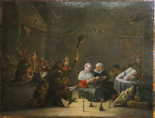 18th century Dutch school (signed) after a work by Téniers - Paintings & Drawings Style