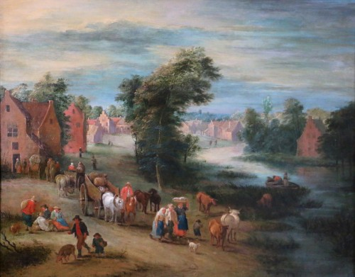 Theobald Michau (1676- 1765))  - Village and river scene - Paintings & Drawings Style Louis XV
