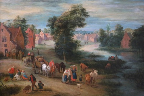 Paintings & Drawings  - Theobald Michau (1676- 1765))  - Village and river scene