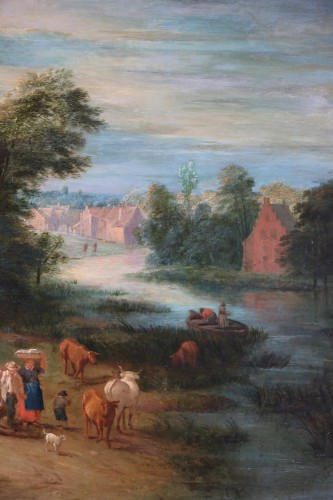 18th century - Theobald Michau (1676- 1765))  - Village and river scene