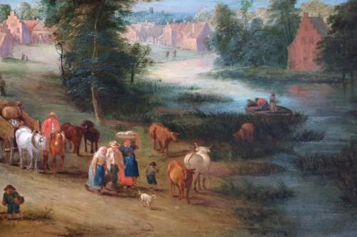 Louis XV - Theobald Michau (1676- 1765))  - Village and river scene