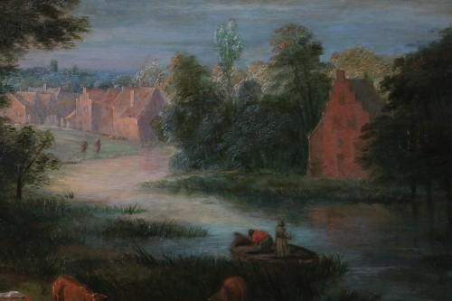 Antiquités - Theobald Michau (1676- 1765))  - Village and river scene