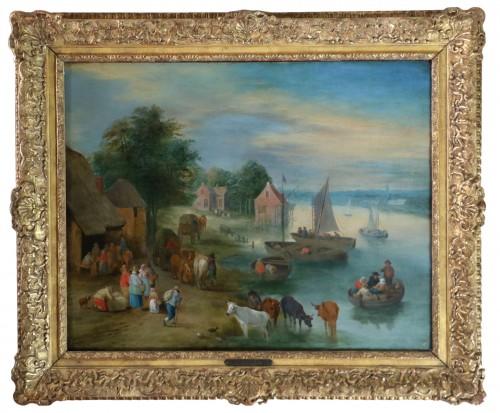 Theobald Michau (1676- 1765) - Village scene on the banks of