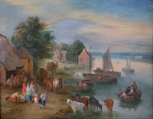 Theobald Michau (1676- 1765) - Village scene on the banks of  - Paintings & Drawings Style Louis XV