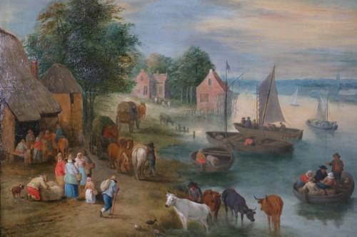 Paintings & Drawings  - Theobald Michau (1676- 1765) - Village scene on the banks of