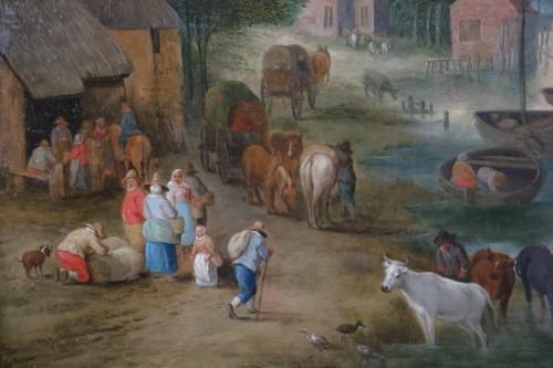 Theobald Michau (1676- 1765) - Village scene on the banks of  -