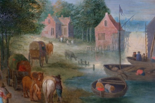 18th century - Theobald Michau (1676- 1765) - Village scene on the banks of