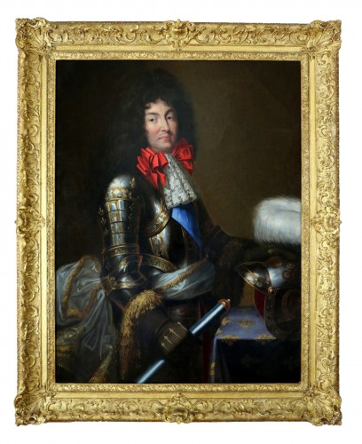 Large Portrait of Louis XIV in armor Attributed to Jean Nocret (1615, 1672)