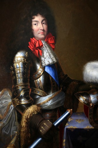 Paintings & Drawings  - Large Portrait of Louis XIV in armor Attributed to Jean Nocret (1615, 1672)