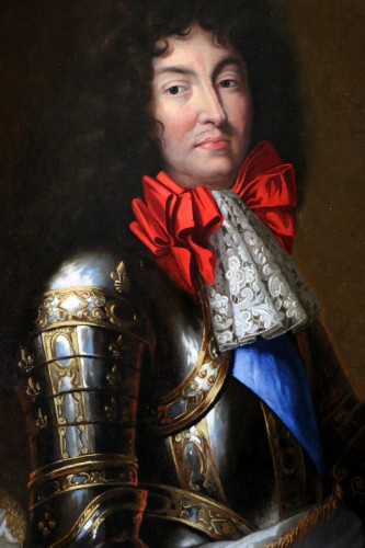 Large Portrait of Louis XIV in armor Attributed to Jean Nocret (1615, 1672) -