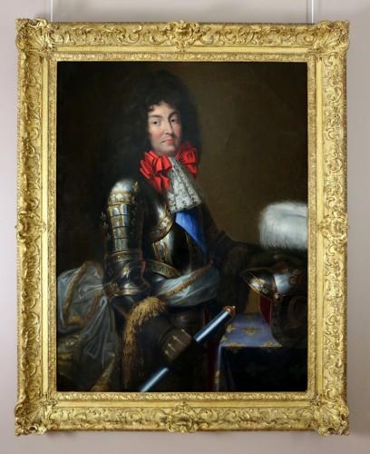 Antiquités - Large Portrait of Louis XIV in armor Attributed to Jean Nocret (1615, 1672)